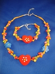 Girls Red Hearts Summer Yellow Necklace Bracelet, Non-Allergic Jewelry
