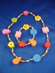 Girls Summer Colors Flowers Necklace Bracelet Stretching, Non-Allergic Jewelry