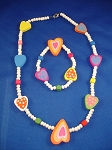 Girls Summer Colors Hearts Necklace Bracelet Stretching, Non-Allergic Jewelry