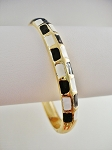 Gold Tone Bangle Bracelet, Black White Squares Ornament