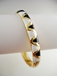 Gold Tone Bangle Bracelet, Black White Triangles Ornament
