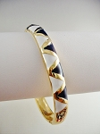 Gold Tone Bangle Bracelet, Blue White Triangles Ornament