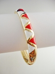 Gold Tone Bangle Bracelet, Red White Triangles Ornament