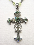 Green Peridot Vintage Cross Pendant Necklace Filigree Style, Genuine Austrian Crystals