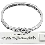 Guardian Angel Blessing Bracelet CZ Crystals, Inspirational Message Stretching Silver Bangle