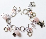 Happy Charms Bracelet Yin-Yang Butterfly, Genuine Pink Quartz