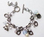 Happy Charms Bracelet Yin-Yang Elephant, Genuine Moonstone