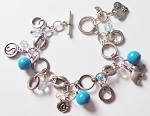 Happy Charms Bracelet Yin-Yang Elephant, Genuine Turquoise Blue