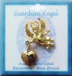 Heart Locket Gold Guardian Angel Pin December Birthstone-Blue Zircon, Genuine Austrian Crystal