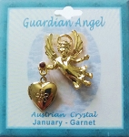 Heart Locket Gold Guardian Angel Pin January Birthstone-Garnet, Genuine Austrian Crystal