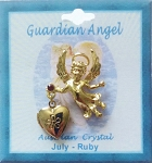 Heart Locket Gold Guardian Angel Pin July Birthstone-Ruby, Genuine Austrian Crystal