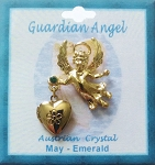 Heart Locket Gold Guardian Angel Pin May Birthstone-Emerald, Genuine Austrian Crystal