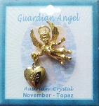 Heart Locket Gold Guardian Angel Pin November Birthstone-Topaz, Genuine Austrian Crystal