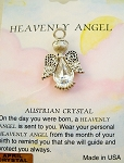 Heavenly Angel Clear Diamond April Birthstone Pin Vintage Style, Genuine Austrian Crystal