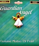 Garnet-January Birthstone Guardian Angel Pin, Genuine Mother-of-Pearl & Austrian Crystal