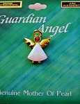 Alexandrite-June Birthstone Guardian Angel Pin, Genuine Mother-of-Pearl & Austrian Crystal