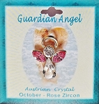 Large Rose Zircon October Birthstone Guardian Angel Pin, Genuine Austrian Crystals