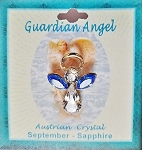 Large Sapphire September Birthstone Guardian Angel Pin, Genuine Austrian Crystals