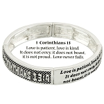 Love Bracelet 1 Corinthians 13:4 Inspirational Message, Silver