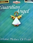 Aquamarine-March Birthstone Guardian Angel Pin, Genuine Mother-of-Pearl & Austrian Crystal