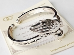 Matthew 7:7 Praying Hands Inspirational Message Bracelet Cuff, Sliver Stretch