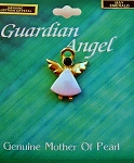 Emerald-May Birthstone Guardian Angel Pin, Genuine Mother-of-Pearl & Austrian Crystal