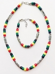 Miami Beach Multicolor Men's Necklace Bracelet Beaded, Surfer Style Choker