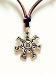 Mystic Symbols Reversible Pendant Beach Men's Necklace, Leather  Surfer Style Unisex