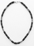 Palm Beach Men's Necklace Beaded Two-tone Chrome Black, Surfer Style Choker