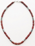 Palm Beach Men's Necklace Beaded Two-tone Chrome Brown, Surfer Style Choker