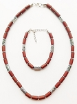 Palm Beach Men's Necklace Bracelet Beaded Two-tone Chrome Brown, Surfer Style Choker
