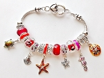 Pandora Inspired Sea Life Charm Bracelet Seahorse Turtle Star Shell, Red Color