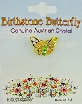 Peridot-August Birthstone Butterfly Pin Gold Tone, Genuine Austrian Crystal