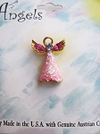 Pink Zircon Guardian Angel Pin, Genuine Austrian Crystals, Gold Tone