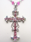 Pink Zircon Vintage Cross Pendant Necklace Filigree Style, Genuine Austrian Crystals