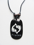 Pisces Zodiac Sign Pendant Beach Men's Adjustable Necklace, Unisex Surfer Style Jewelry