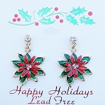 Poinsettia Flower Christmas Dangle Earrings, Austrian Crystals