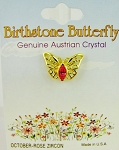 Rose Zircon-October Birthstone Butterfly Pin Gold Tone, Genuine Austrian Crystal