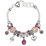 Rose Zircon October Birthstone Charm Bracelet Murano Beads, Pandora Style Inspired