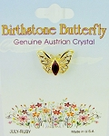 Ruby-July Birthstone Butterfly Pin Gold Tone, Genuine Austrian Crystal