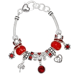 Ruby July Birthstone Charm Bracelet Murano Beads, Pandora Style Inspired
