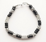 Samur Beach Beaded Bracelet, Men's Surfer Style Jewelry Black
