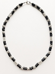 Samur Beach Beaded Necklace, Men's Surfer Style Jewelry Black