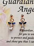Sapphire-September Birthstone Guardian Angel Post Earrings, Genuine Austrian Crystals