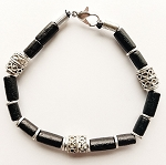 Sezam Beach Beaded Bracelet, Men's Surfer Style Jewelry Black