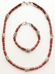 Sezam Beach Beaded Necklace Bracelet, Men's Surfer Style Jewelry Brown