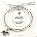 Sister's Blessing Bracelet Inspirational Message Angel Charm Silver
