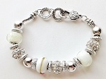 Summer Colors Pure White Bead Bracelet Pandora Inspired Murano Glass