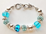 Summer Colors Turquoise Blue Bead Bracelet Pandora Inspired Murano Glass