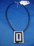 Summer Contemporary Necklace Rectangle Pendant, High Polish Chrome